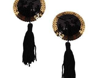 Pinch - Burlesque Round Sparkling - Tepelkwastjes -Rond Zwartgoud - tepelplakker nipple tassel